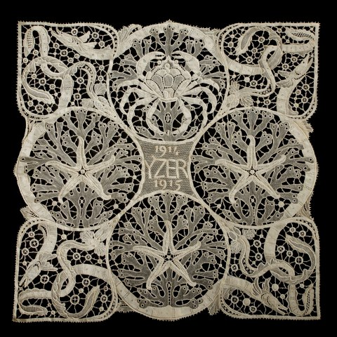 Square shaped lace example, white on black background