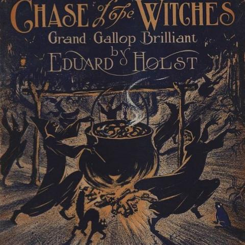 Sheet music cover with witches