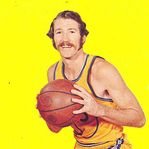 "Posed basketball player on yellow background with pink text saying ""warriors"""