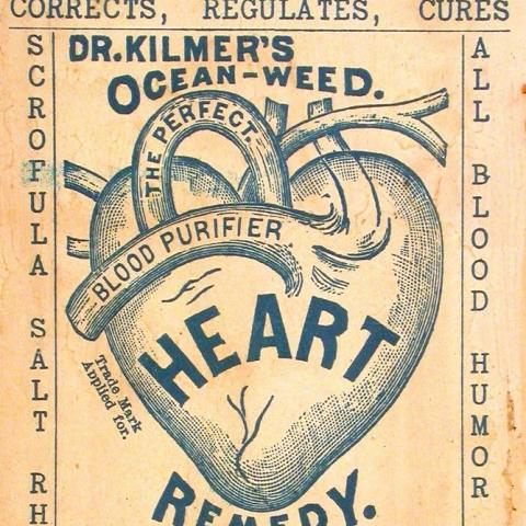 Trade card for a heart remedy featuring illustration of heart