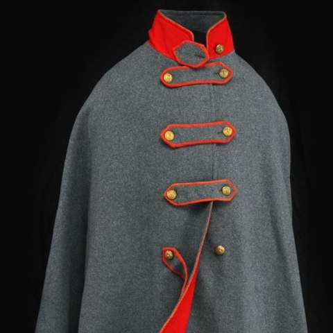 Grey Civil War coat with red detailing and gold buttons