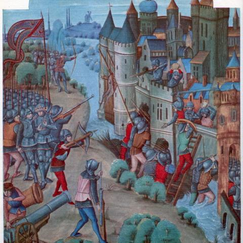 15th century painting depicts hand cannons in action