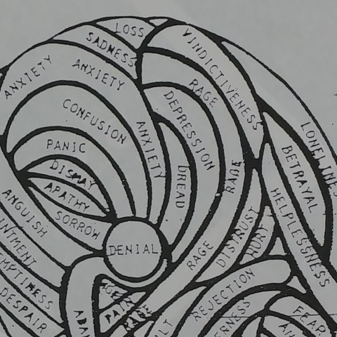 """Cartoon drawing of a tangled ball of yarn with emotions such as """"anxiety"""" and """"rage"""" tangled up"""