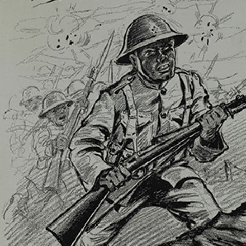 An illustration of an African American soldier