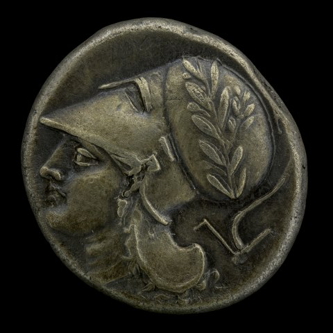 A coin made of grayish metal that is not polished. On it, a head in profile wears a classical war helmet. On it, there is a sprig of some sort of plant
