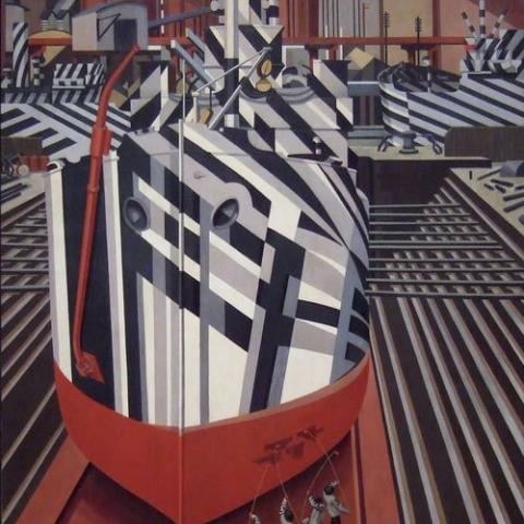 """Edward Wadsworth. """"Dazzle-ships in Drydock at Liverpool,"""" 1919."""