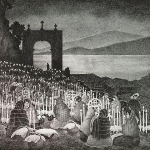 black and white piece of art depicting families gathered in a cemetery with picnic baskets and candles at night