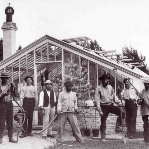 A photograph of a number of men standing in front of a greenhouse. Their clothes are not very fine and they all have hats on. There are overgrown plants and trees behind the greenhouse. The men hold different tools like a scythe or a rake