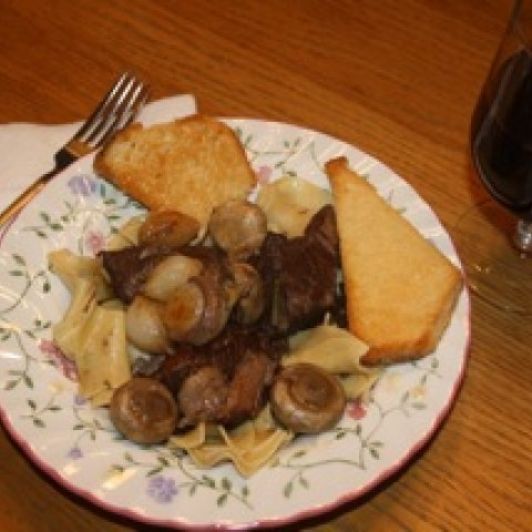 A picture of boeuf bourguignon, created with a recipe made by Julia Child