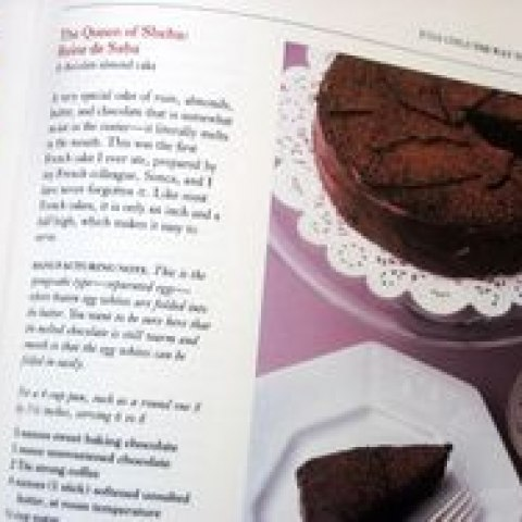 "A photograph of the recipe for ""Reine de Saba,"" a chocolate cake made by Julia Child"