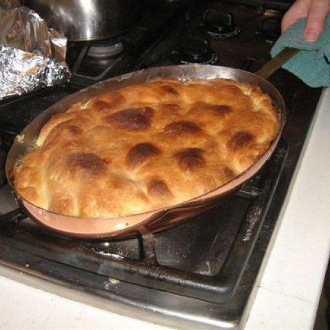 A tarte tatin, created with a recipe by Julia Child, in the process of baking, before being flipped over