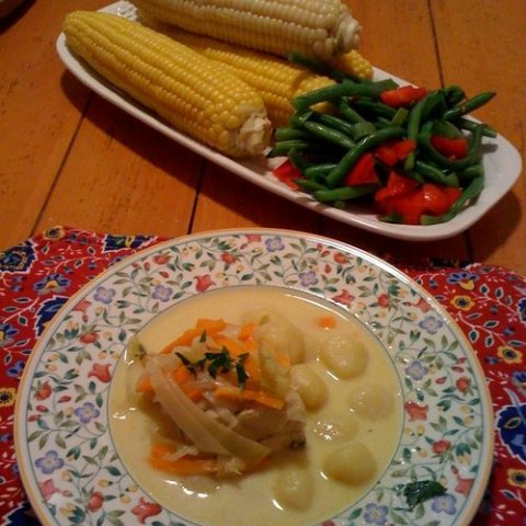 Vegetables and waterzooi, a dish made from a recipe created by Julia Child