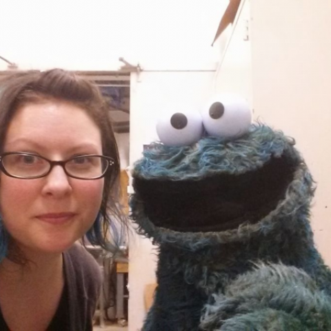 author with cookie monster