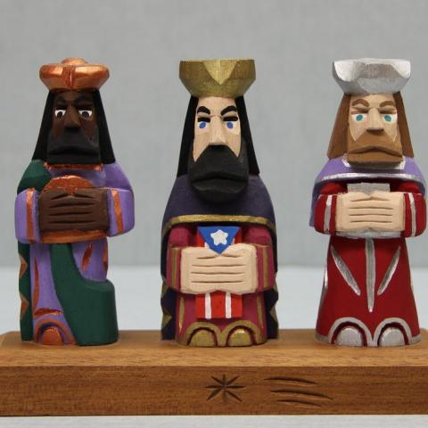 Three wooden wise men
