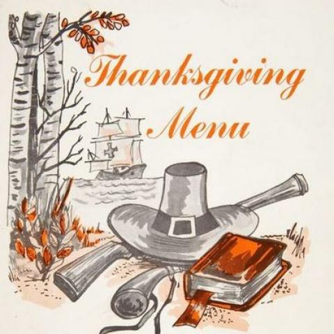 Illustrating of a pilgrim's hat, book, and ship on a Thanksgiving menu