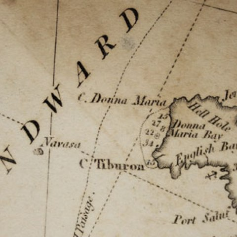 Detail of marine chart showing an island