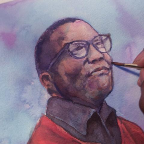 Watercolor of Strayhorn in progress