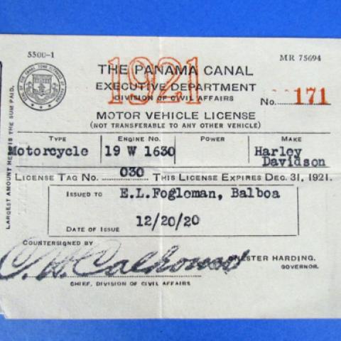 Fogleman's vehicle registration