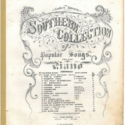 "Sheet music titled ""Southern Collection"""
