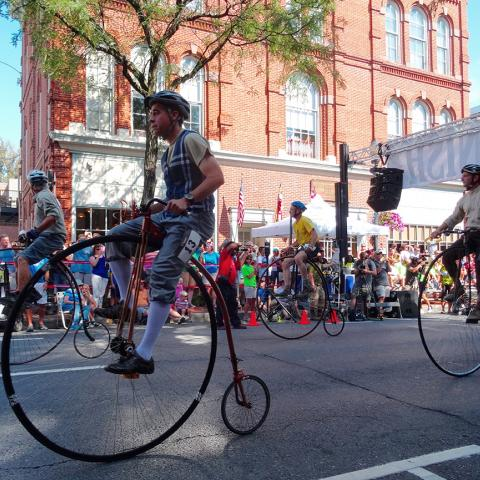 High wheel bicycle race in Frederick, Maryland
