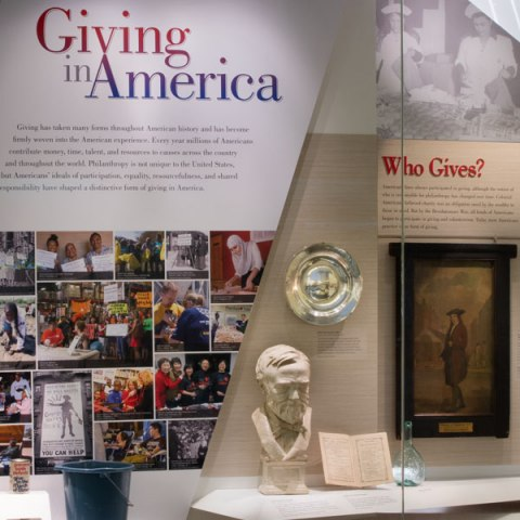 An close up of a section of Giving in America. The ALS ice bucket is evident.