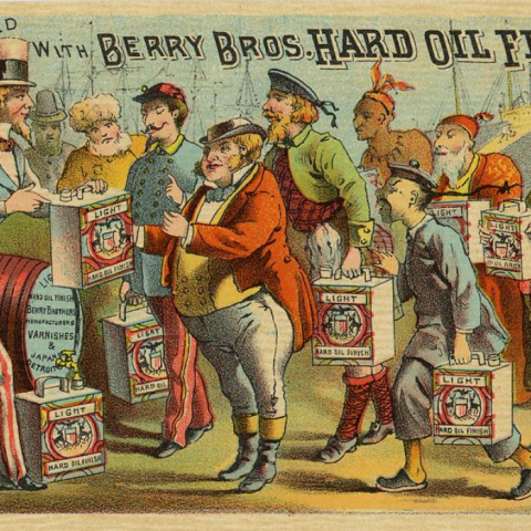 Uncle Sam in left handing out square cans of Hard Oil Finish to various nationalities. Probably made for the World's Fair in Chicago, 1893
