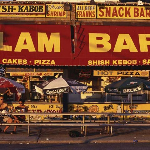 red and yellow clam bar sign