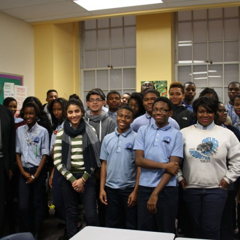 Courtland Cox speaking with students at Phelps ACE High School