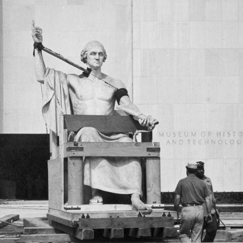 On September 6, 1962, the Horatio Greenough statue of George Washington was moved from the Smithsonian Castle to the partially complete Museum of History and Technology (now the National Museum of American History) in order to fit it inside before finishing the walls.