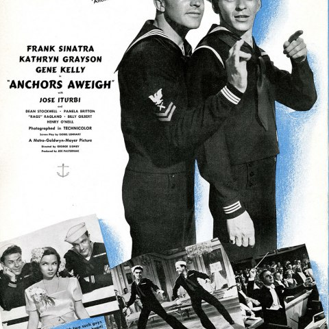 """An advertisement for """"Anchors Aweigh"""" directed by George Sidney, 1945.""""  Any citation should read """"Image from the   George Sidney Collection, Archives Center, National Museum of American History, Smithsonian."""