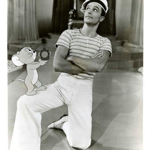 """Jerry the Mouse and Gene Kelly in an inventive dance sequence from """"Anchors Aweigh"""" directed by George Sidney, 1945."""