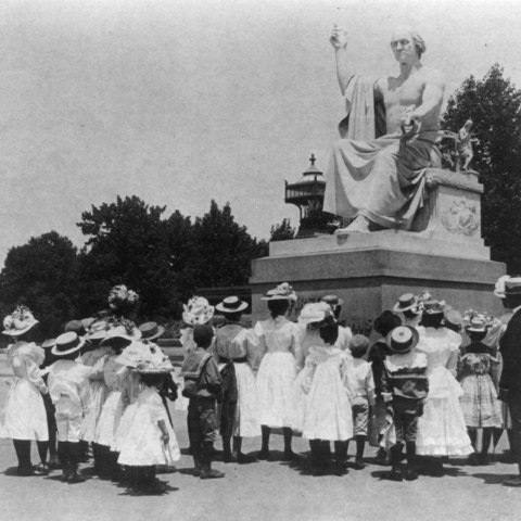 African American school children facing the Horatio Greenough statue of George Washington at the U.S. Capitol, 1899 (Courtesy Library of Congress)
