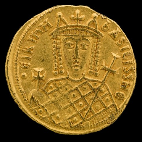 Byzantine Empress Irene, Solidus Coin, Constantinople, 797–802