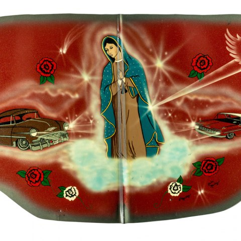 Car hood made by Victor's Paint and Body Shop, Chimayó, New Mexico, 1991