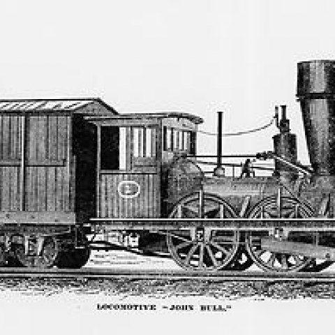 The John Bull as it appeared in 1877. Note the cab and wider exhaust stack.