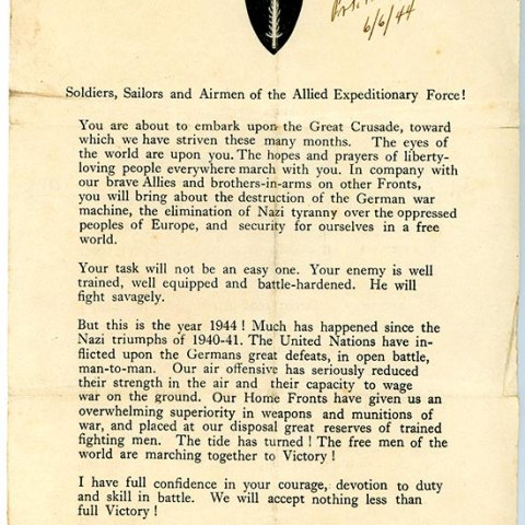 Printed letter to troops from Dwight Eisenhower