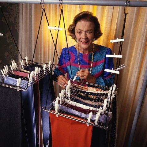 Woman displaying filing system