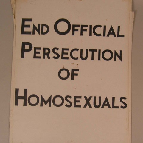 """Kameny protest sign: """"End Official Persecution of Homosexuals"""""""