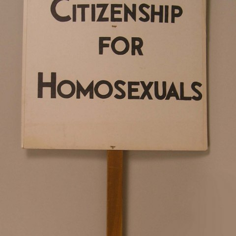 "Kameny protest sign: ""First Class Citizenship for Homosexuals"""