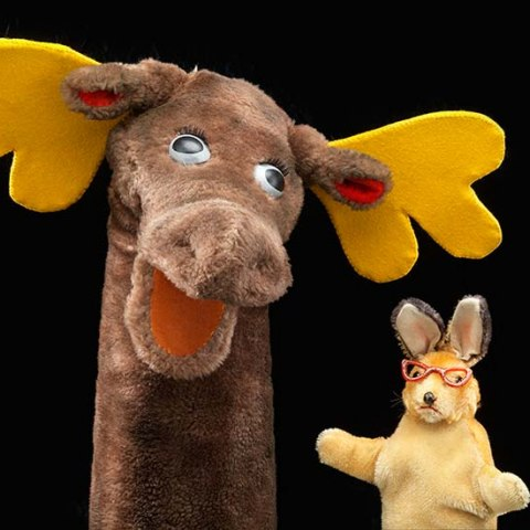 Rabbit and moose hand puppets