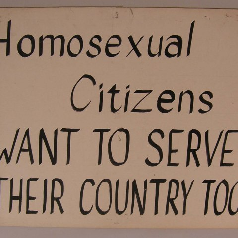 """Kameny protest sign: """"Homosexual Citizens Want to Serve Their Country Too"""""""