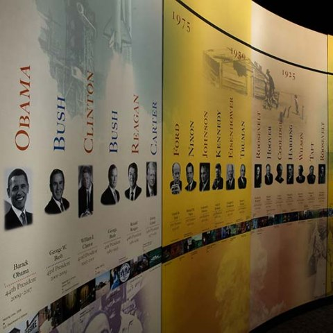 Photograph of exhibit entrance with presidential bios