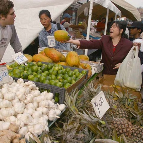 people haggling at a farmers market