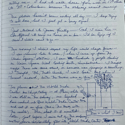 Page 1 of a journal entry in blue ink on lined paper
