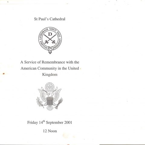 Cover for program at St. Paul's Cathedral on Sept. 14, 2001