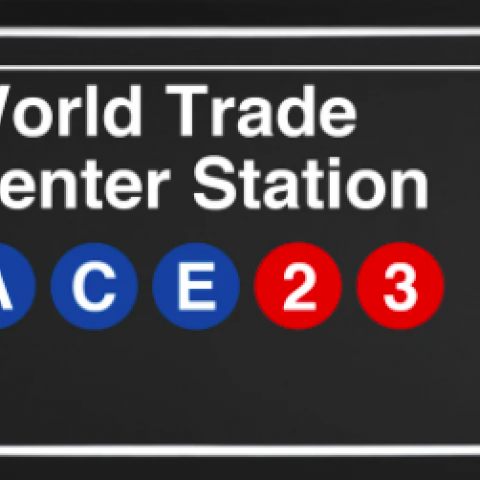 Subway sign for the World Trade Center Stop