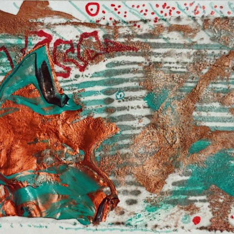 Copyrighted. Abstract orange and turquoise paint and other media on paper i
