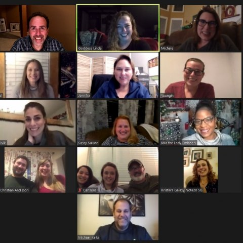 A grid of faces representing participants on a Zoom call