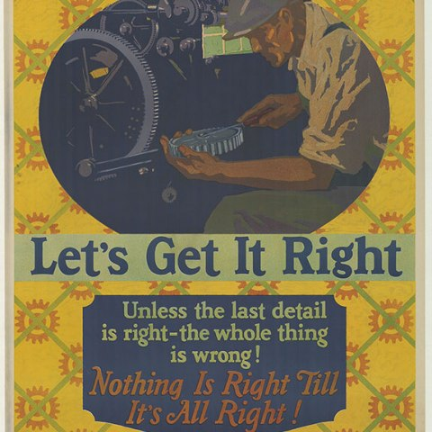 A poster with a yellow patterned background and a man working on machinery with some lettering below in different colors