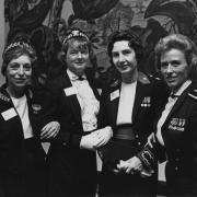 Colonel Emily C. Gorman, Director of the WAC; Viola Brown Sanders, Director of Women in the Navy; Colonel Barbara J. Bishop, Director of the Women Marines; and Colonel Jeanne Holm, Director of Women in the Air Force pose at the Defense Advisory Committee On Women In The Service, Washington, D.C., October 1966. Photo courtesy of the Jackson Library, The University of North Carolina at Greensboro, Viola Brown Sanders Papers.